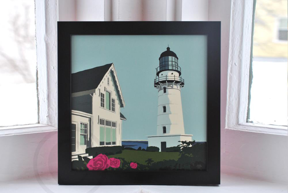 "Cape Elizabeth Light Art Print 8"" x 8"" Framed"