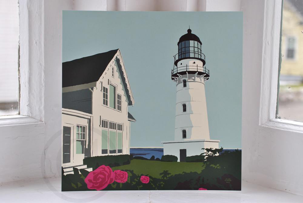 "Cape Elizabeth Light Art Print  8"" x 8"" Square"