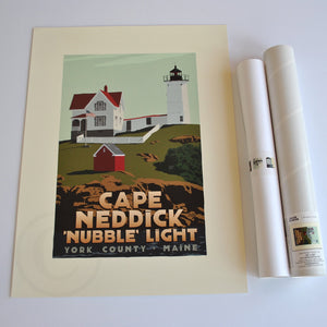 "Cape Neddick Nubble Light Art Print 18"" x 24"" Travel Poster - Maine"