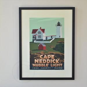 "Cape Neddick Nubble Light Art Print 18"" x 24"" Framed Travel Poster - Maine"