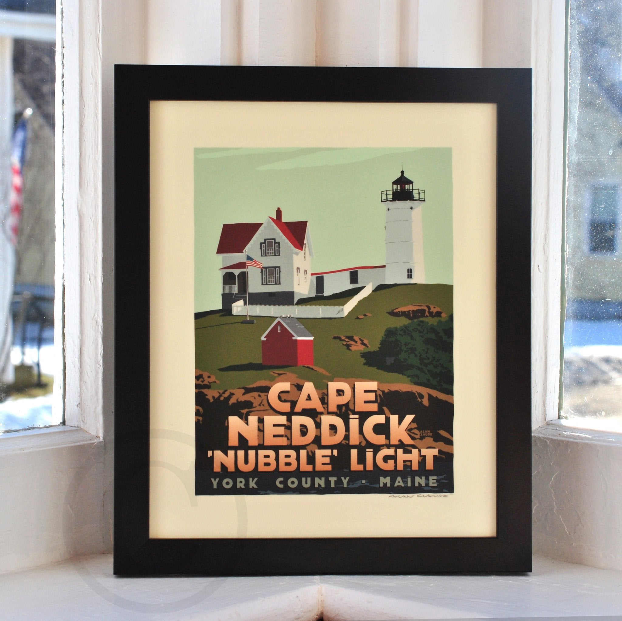 "Cape Neddick Nubble Light Art Print 8"" x 10"" Framed Travel Poster - Maine"