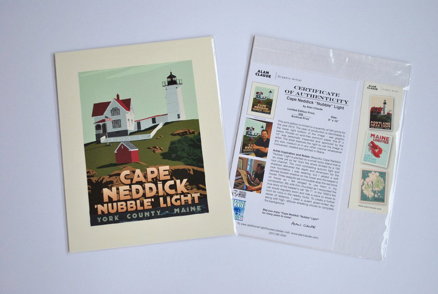 "Cape Neddick Nubble Light Art Print 8"" x 10"" Travel Poster - Maine"