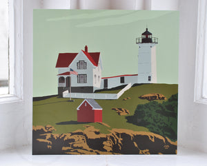 "Cape Neddick Nubble Light Art Print 8"" x 8"" Square"