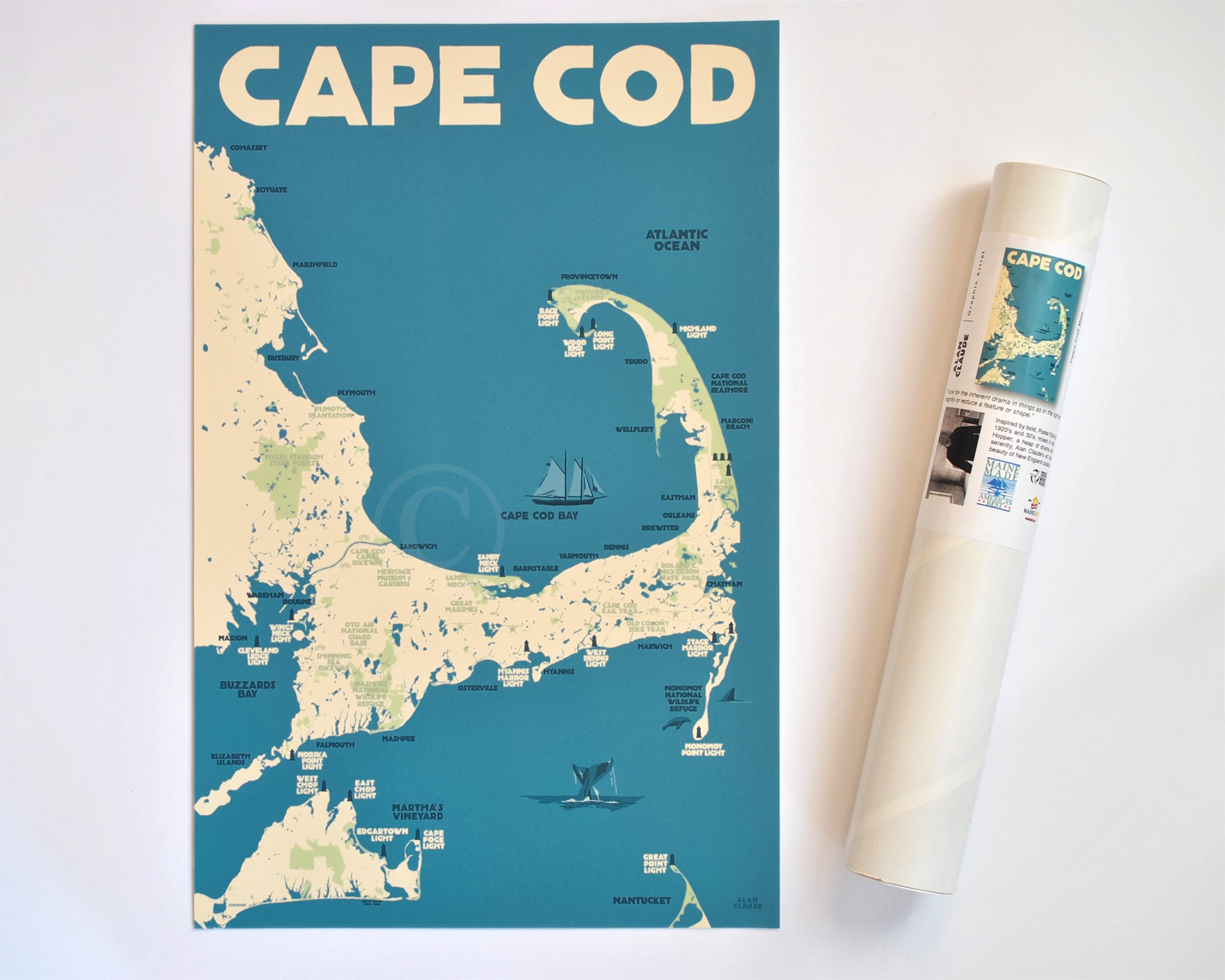 "Cape Cod Map Art Print 11"" x 17"" Travel Poster - Massachusetts"