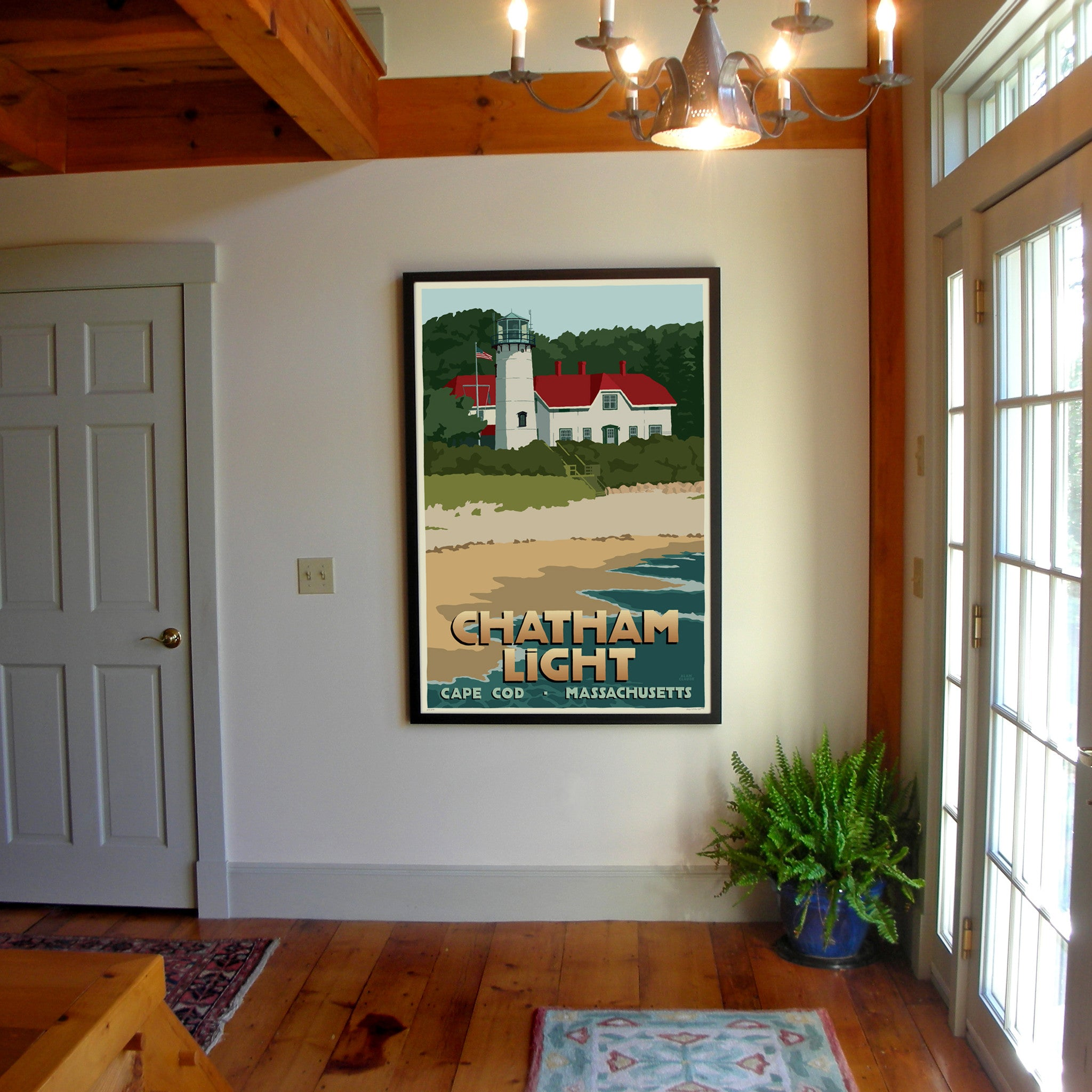 "Chatham Light Art Print 36"" x 53"" Framed Travel Poster - Massachusetts"