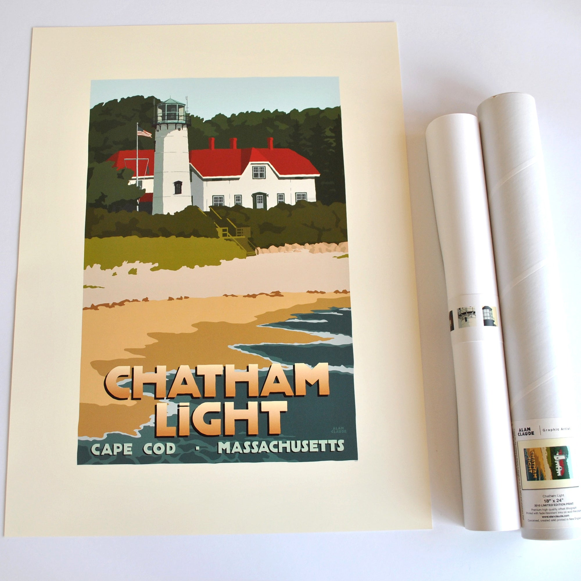 "Chatham Light Art Print 18"" x 24"" Travel Poster - Massachusetts"