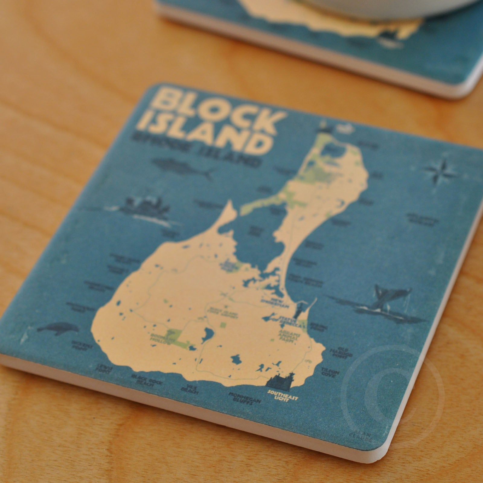 Block Island Map Art Drink Coaster - Massachusetts