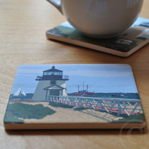 Brant Point Light Art Drink Coaster - Massachusetts
