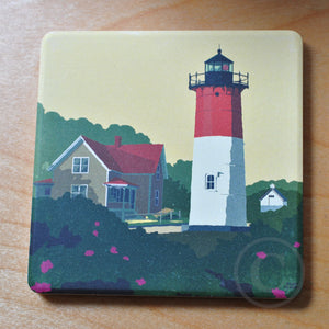 Nauset Light Art Drink Coaster - Massachusetts