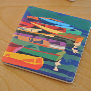 Perkins Cove Dinghies Art Drink Coaster - Maine