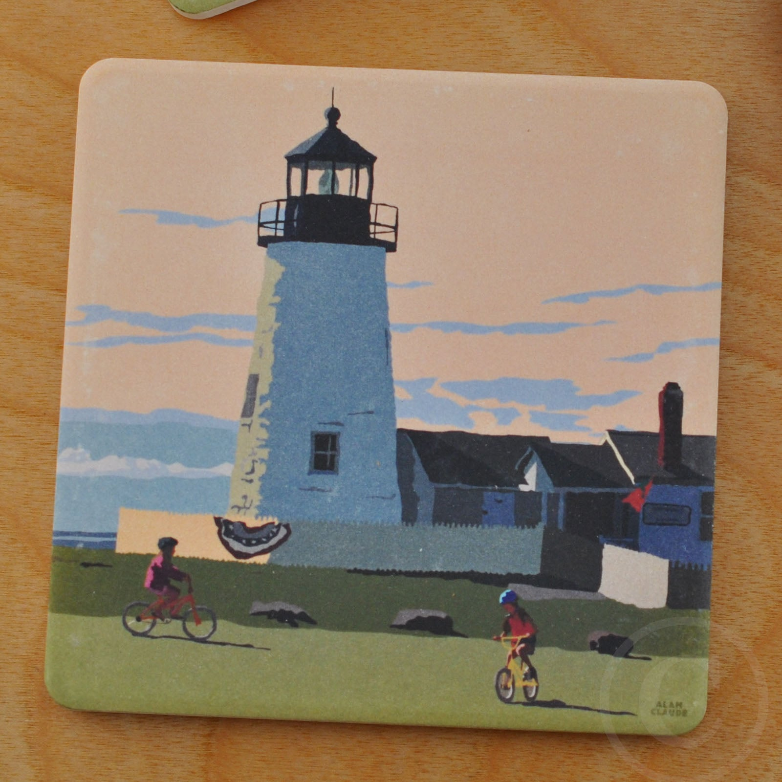 Pemaquid Bicycle Girls Art Drink Coaster - Maine
