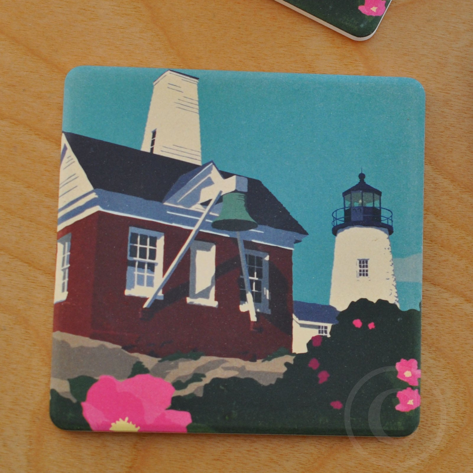 Pemaquid Bell Art Drink Coaster - Maine
