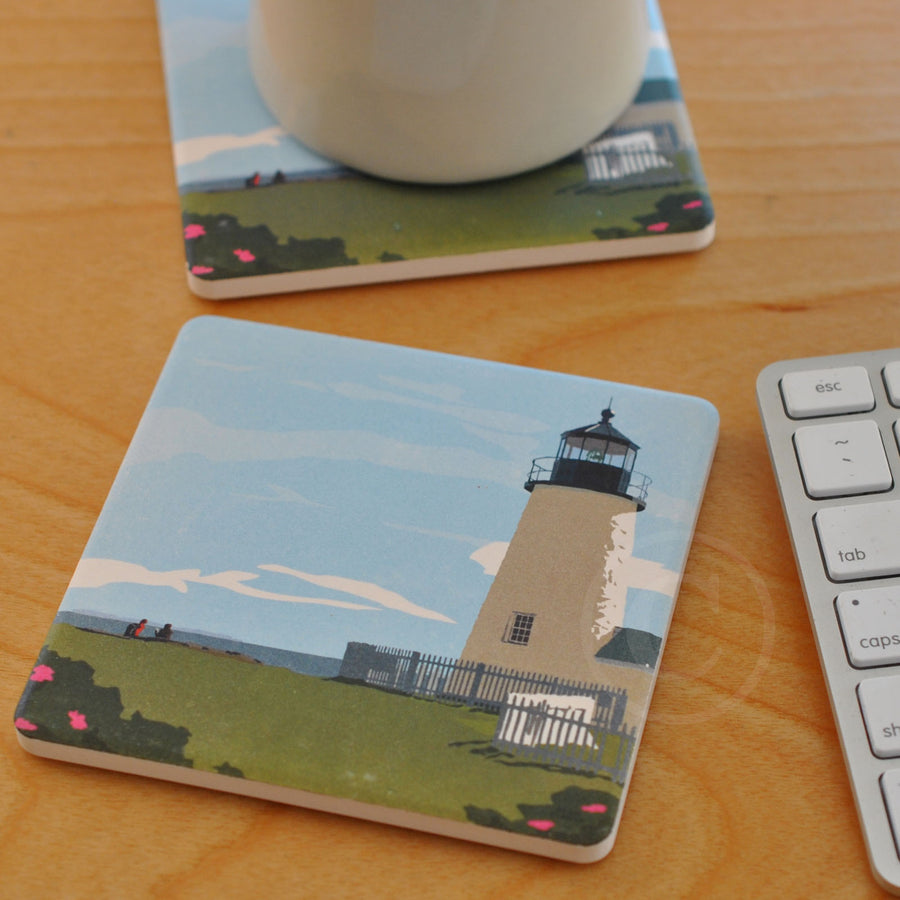 Pemaquid Hikers Art Drink Coaster - Maine