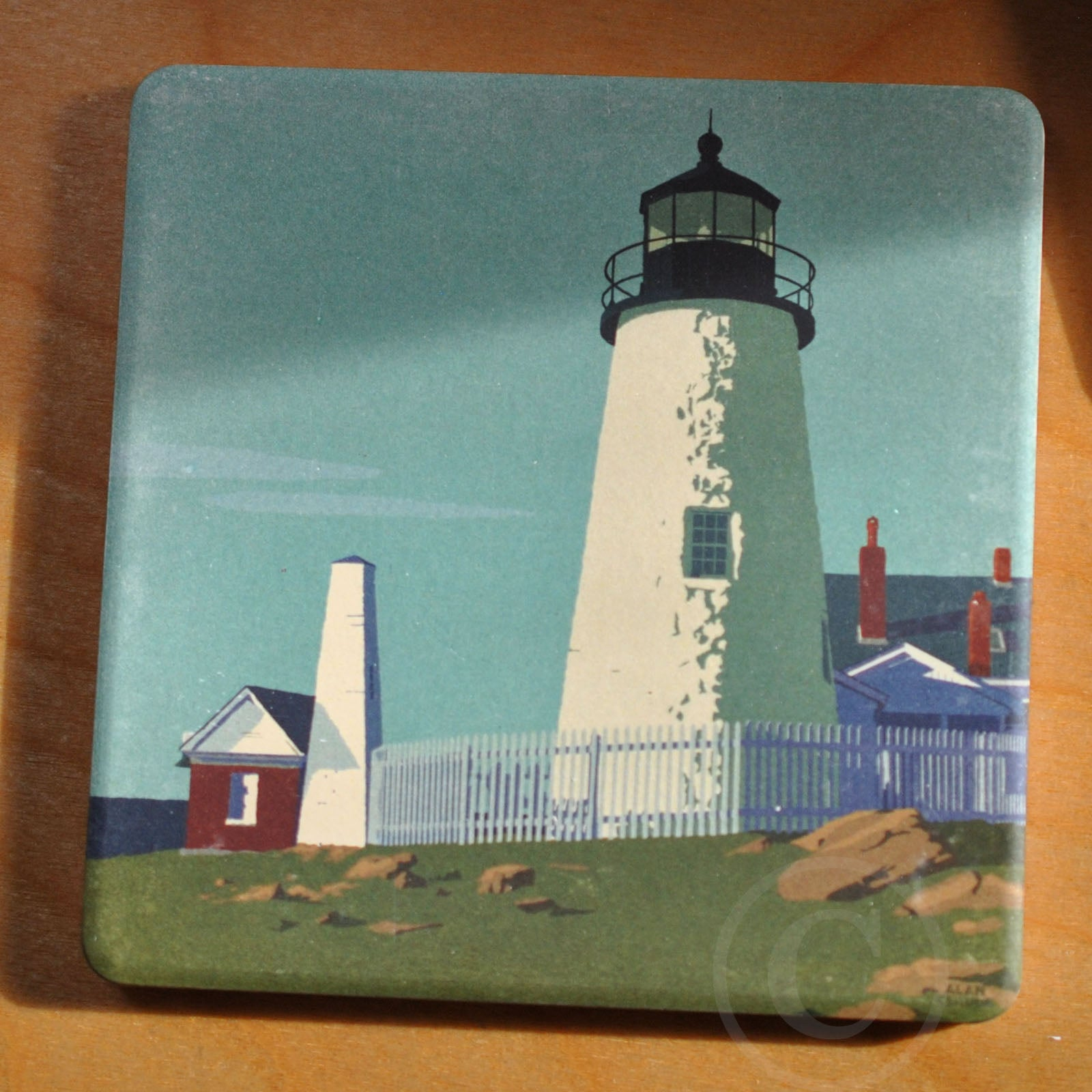Pemaquid Point Light Art Drink Coaster - Maine -
