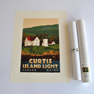 "Curtis Island Light Art Print 18"" x 24"" Travel Poster - Maine"