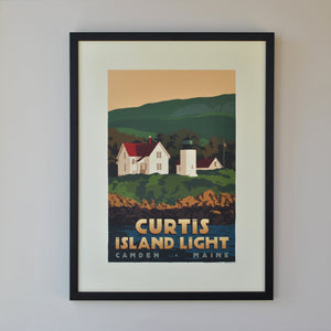 "Curtis Island Light Art Print 18"" x 24"" Framed Travel Poster - Maine"