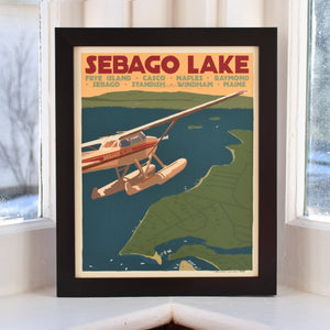 "Sebago Lake Seaplane Art Print 8"" x 10"" Framed Travel Poster - Maine"