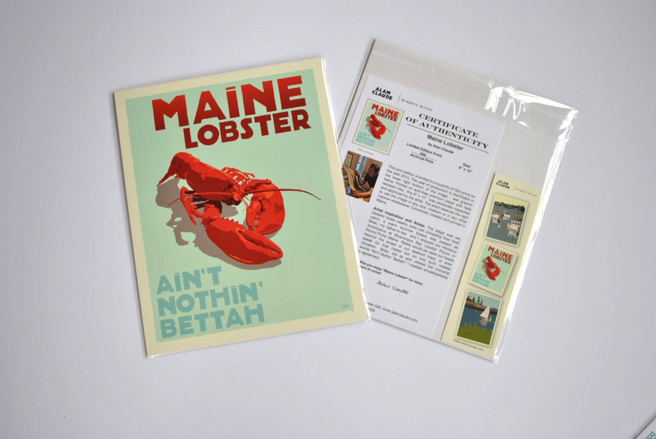 "Maine Lobster Art Print 8"" x 10"" Travel Poster - Maine"