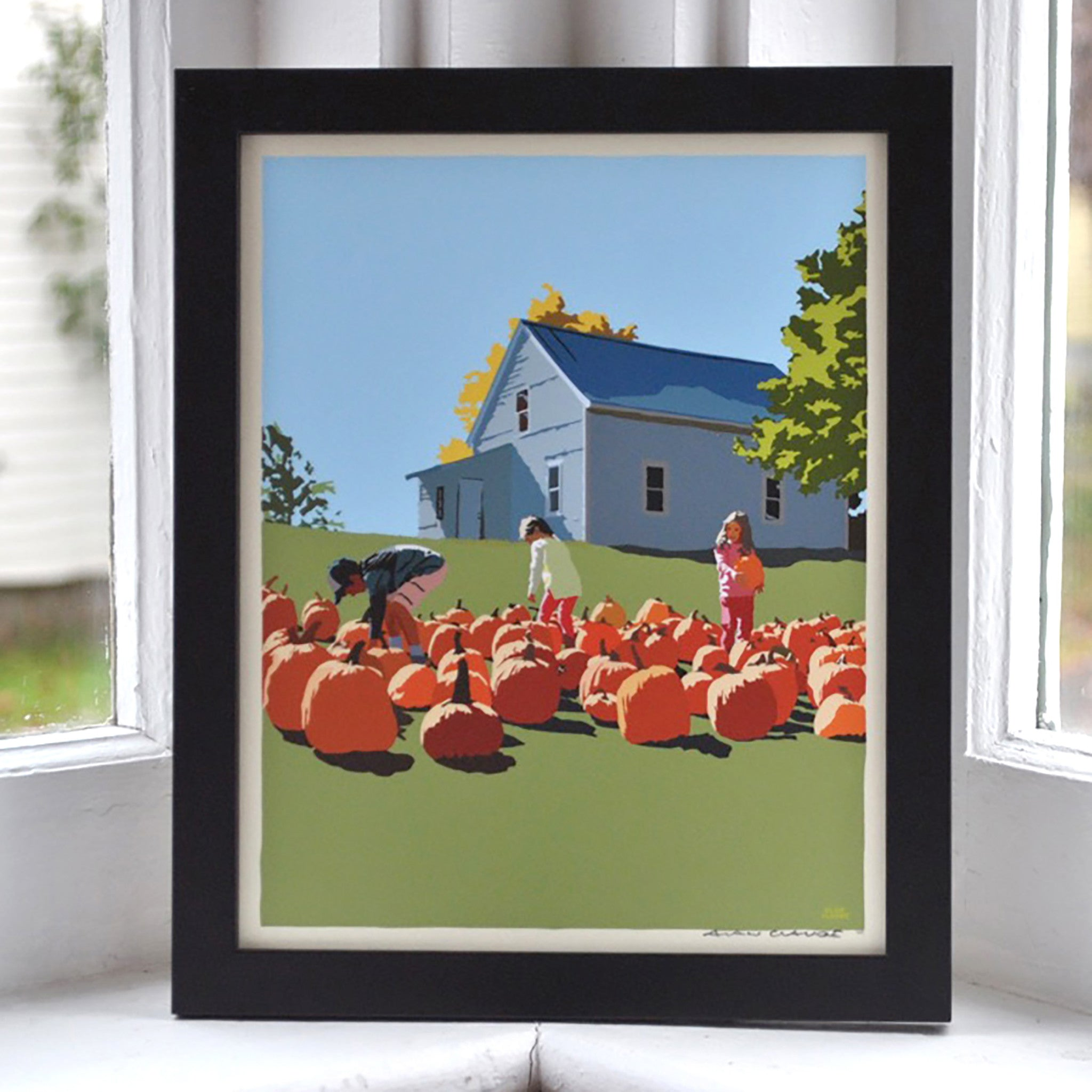 "Fall Pumpkin Kids Art Print 8"" x 10"" Framed Wall Poster - Maine"