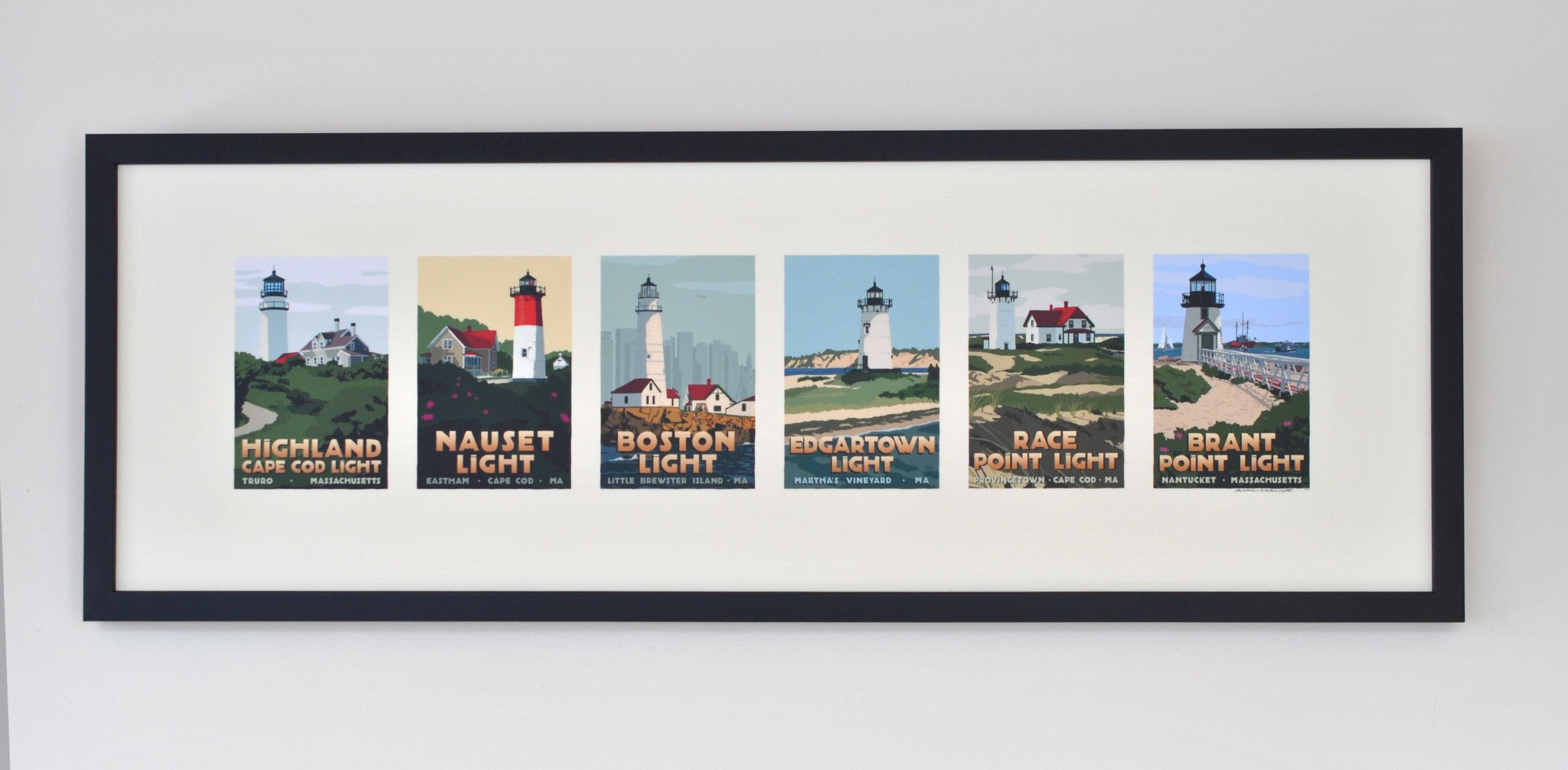 "Massachusetts Lighthouse Series Art Print 12""x36"" Framed Travel Poster - Massachusetts"
