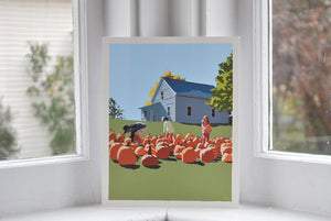 "Fall Pumpkin Kids Art Print 8"" x 10"" Wall Poster - Maine"
