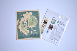 "Acadia National Park Map Art Print 8"" x 10"" Travel Poster - Maine"