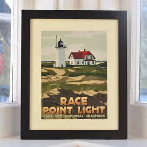 "Race Point Light Art Print 8"" x 10"" Framed Travel Poster - Massachusetts"