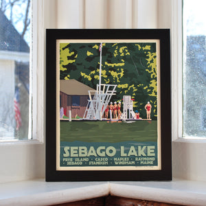 "Sebago Lake Swimmers Art Print 8"" x 10"" Framed Travel Poster - Maine"