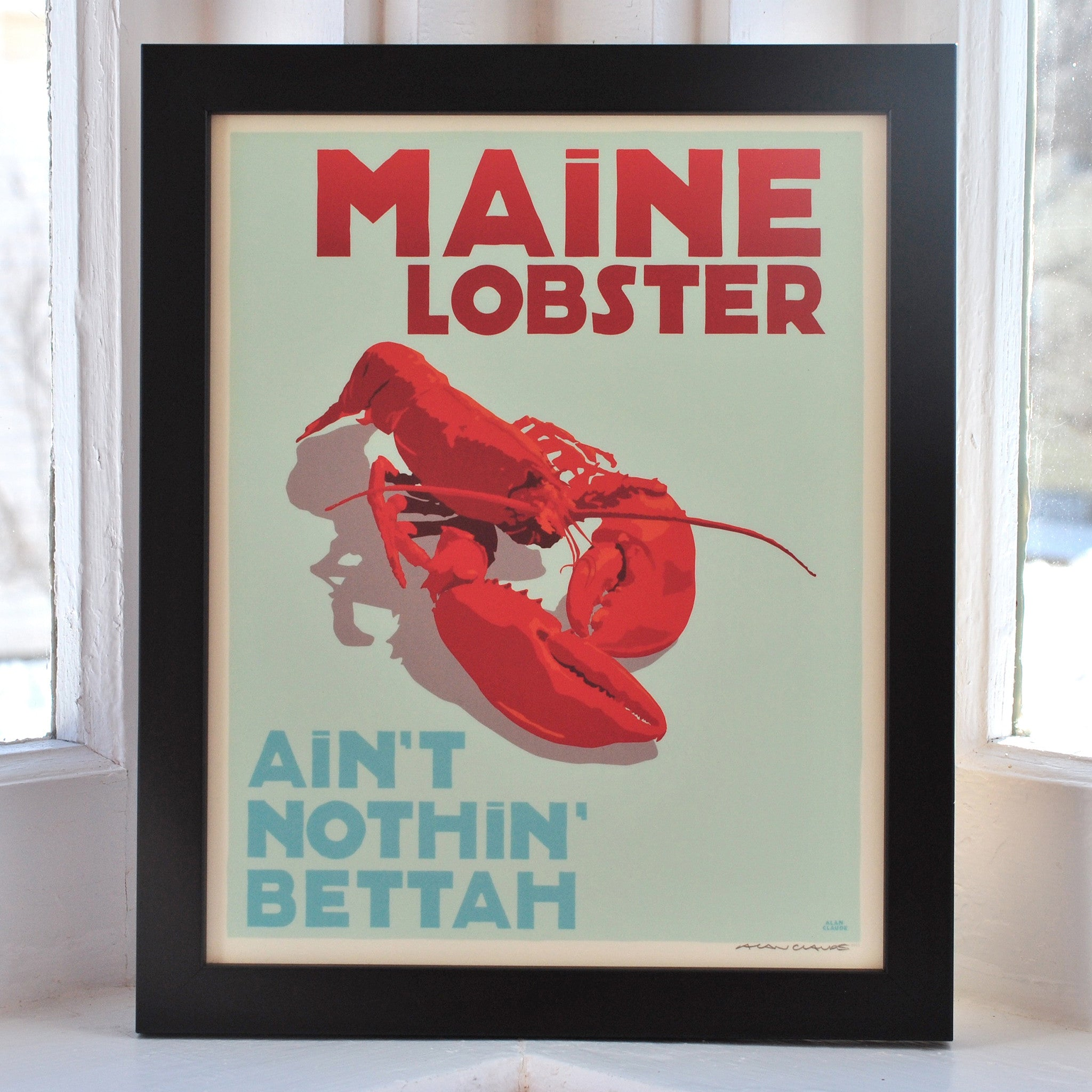 "Maine Lobster Art Print 8"" x 10"" Framed Travel Poster - Maine"