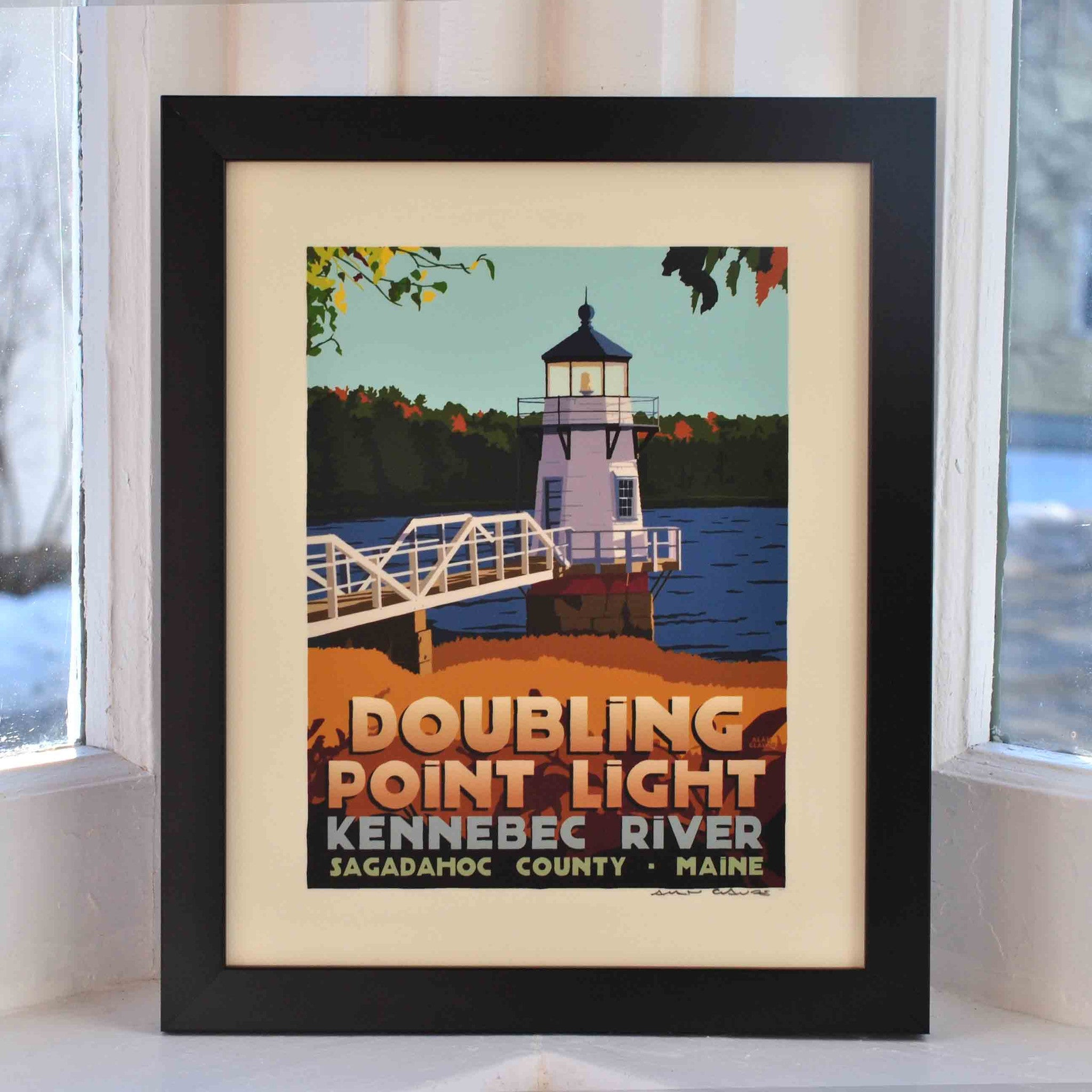 "Doubling Point Light Art Print 8"" x 10"" Framed Travel Poster - Maine"