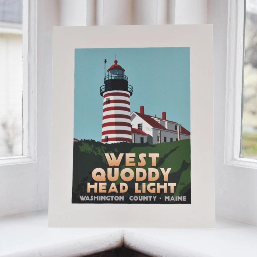 "West Quoddy Head Light Art Print 8"" x 10"" Travel Poster - Maine"