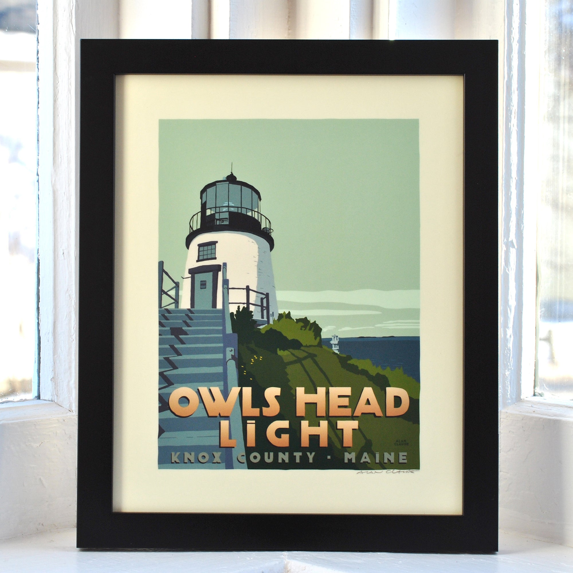 "Owls Head Light Art Print 8"" x 10"" Framed Travel Poster - Maine"
