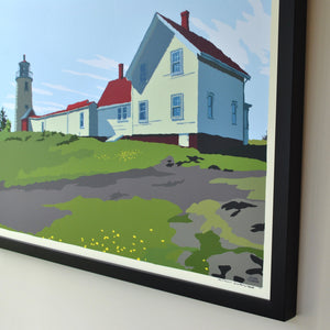 "Monhegan Island Light Art Print 18"" x 24"" Framed Wall Poster - Maine"