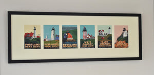 "Maine Lighthouse Series Art Print 12"" x 36"" Framed Travel Poster - Maine"