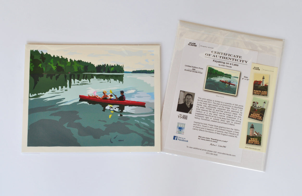 "Kayaking on a Lake Art Print 8"" x 10"" Wall Poster - Maine"