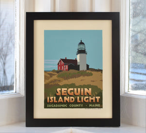 "Seguin Island Light Art Print 8"" x 10"" Framed Travel Poster - Maine"