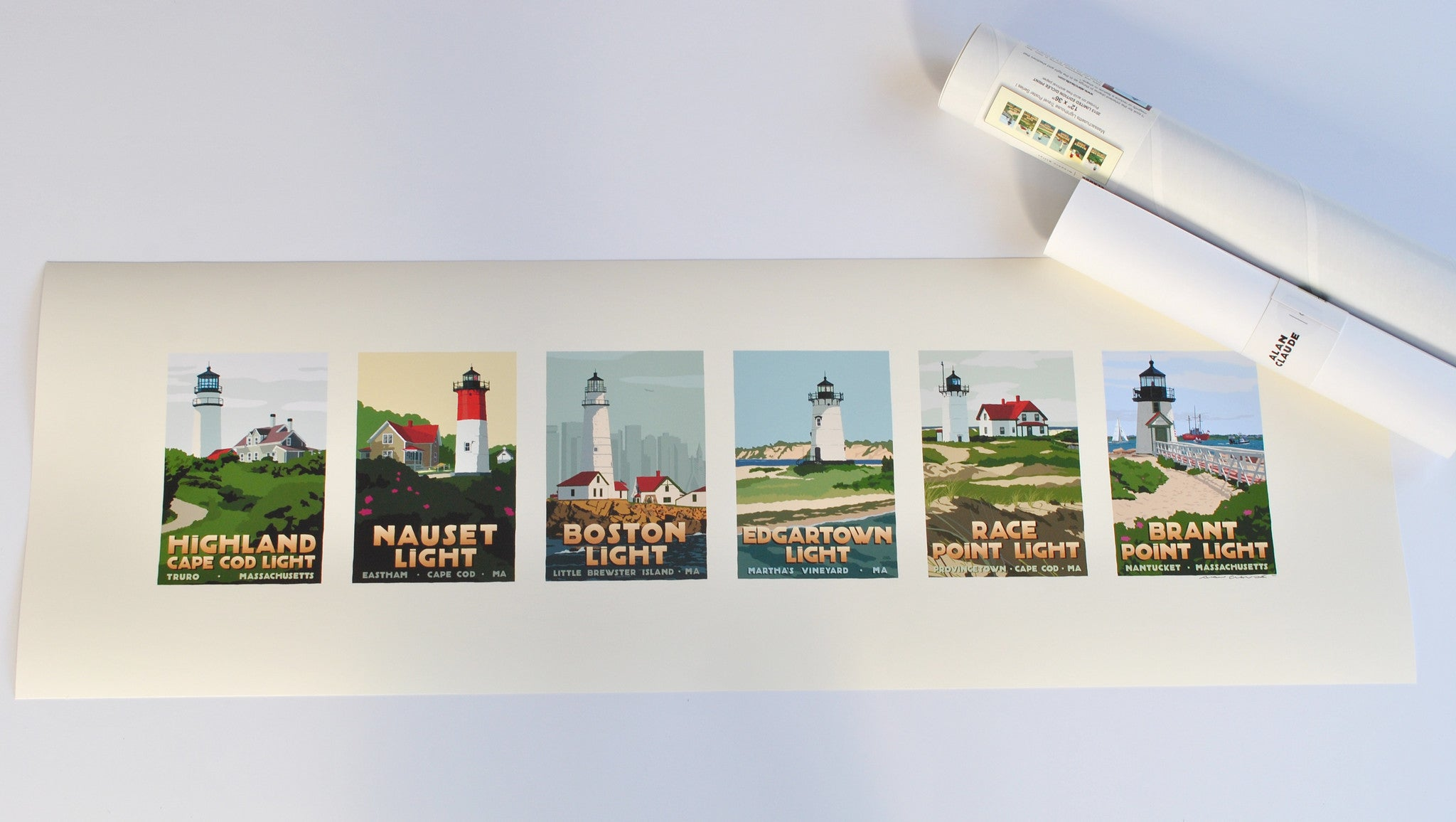 "Massachusetts Lighthouse Series Art Print 12"" x 36"" Travel Poster - Massachusetts"