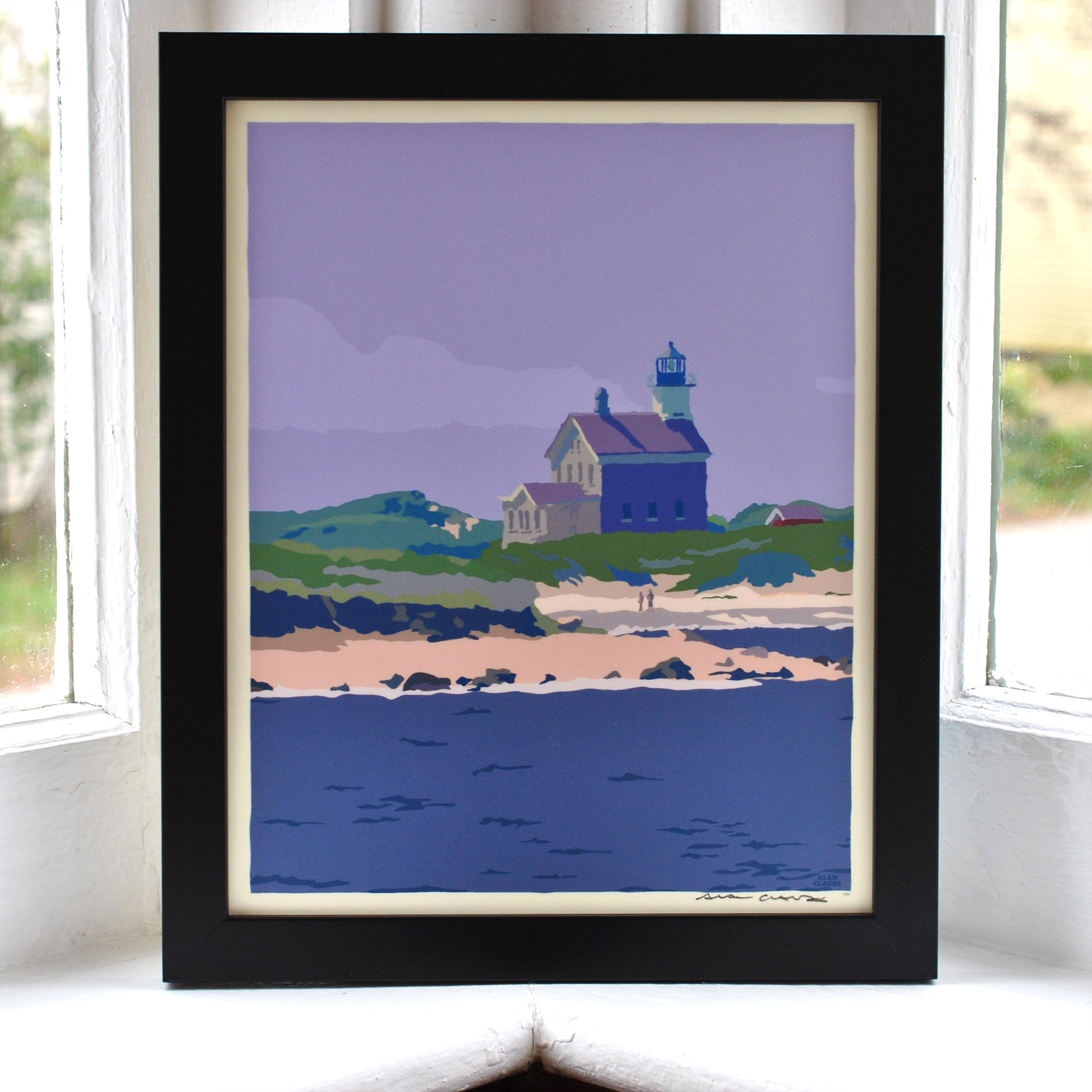 "Block Island North Light Art Print 8"" x 10"" Framed Wall Poster - Rhode Island"