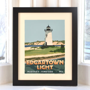 "Edgartown Light Art Print 8"" x 10"" Framed Travel Poster - Massachusetts"