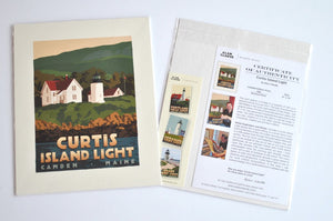 "Curtis Island Light Art Print 8"" x 10"" Travel Poster - Maine"