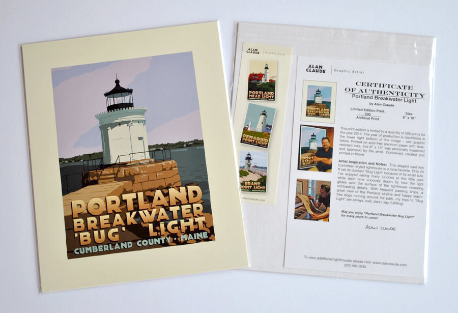 "Portland Breakwater Bug Light Art Print 8"" x 10"" Travel Poster - Maine"