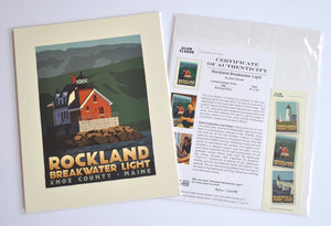"Rockland Breakwater Light Art Print 8"" x 10"" Travel Poster - Maine"