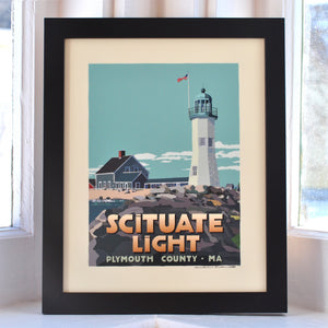 "Scituate Light Art Print 8"" x 10"" Framed Travel Poster - Massachusetts"