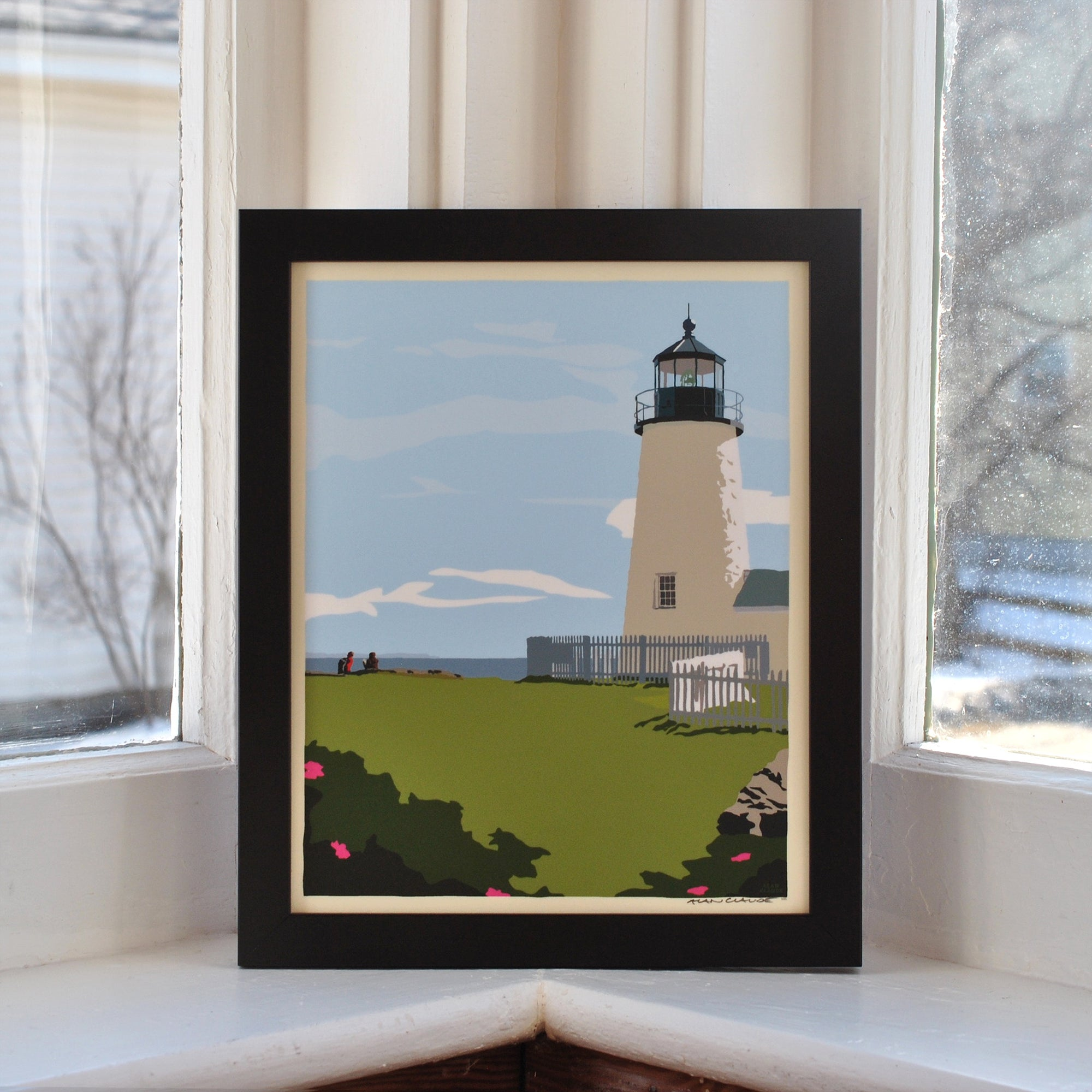 "Pemaquid Point Light Hikers Art Print 8"" x 10"" Framed Wall Poster - Maine"