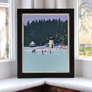 "Ice Skating At Ladies Delight Art Print 8"" x 10"" Framed Wall Poster - Maine"