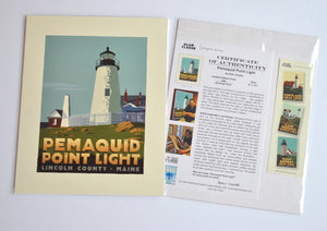 "Pemaquid Point Light Art Print 8"" x 10"" Travel Poster - Maine"