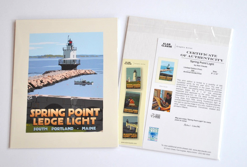 "Spring Point Ledge Light Art Print 8"" x 10"" Travel Poster - Maine"