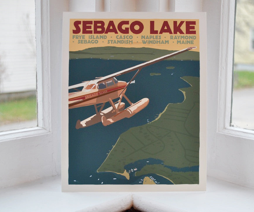 "Sebago Lake Seaplane Art Print 8"" x 10"" Travel Poster - Maine"