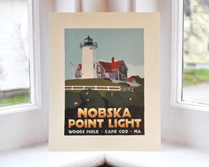 "Nobska Point Light Art Print 8"" x 10"" Travel Poster - Massachusetts"