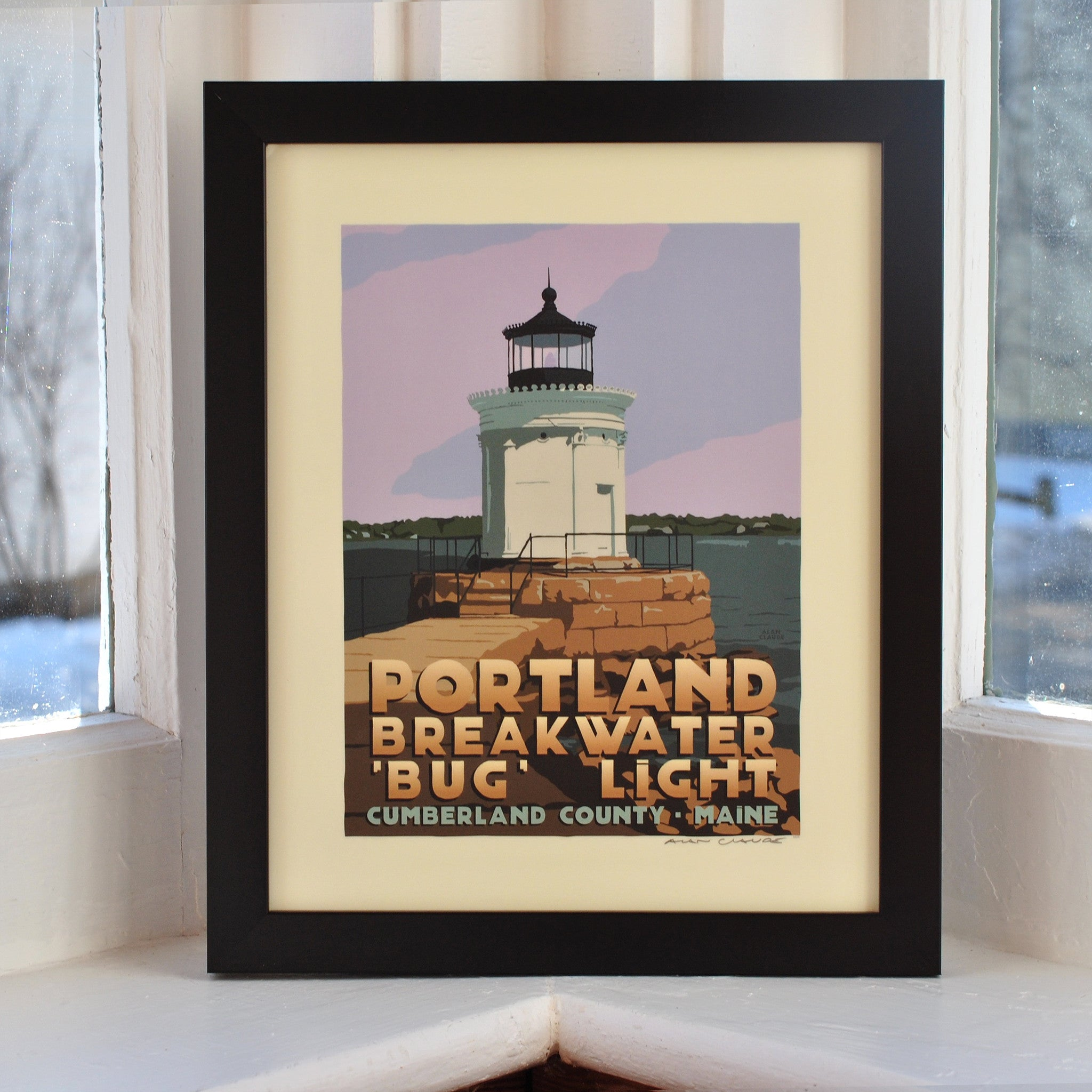 "Portland Breakwater Bug Light Art Print 8"" x 10"" Framed Travel Poster - Maine"